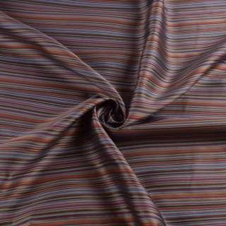 Вискоза подкладочная серая в бордовую, желтую, коричневую полоску, ш.143 оптом
