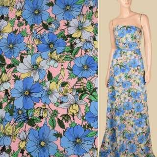 Креп рожевий в синьо-блакитні квіти, ш.148 оптом