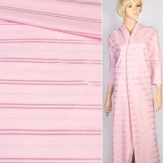 Коттон рубашечный розовый с атласной полоской, ш.145 оптом