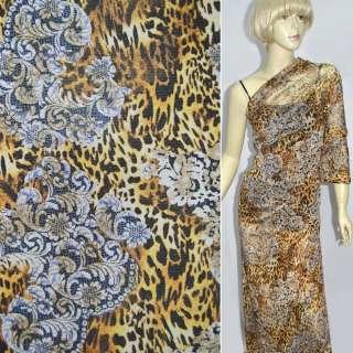 Сетка стрейч коричнево-бежевая леопард, принт кружево оптом
