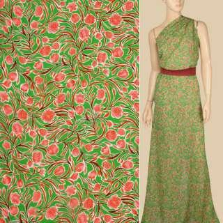 Креп-шифон вискозный зеленый, розовые цветы, ветки, ш.137 оптом