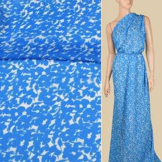 Креп-шифон віскозний білий в блакитні квіти, ш.134 оптом