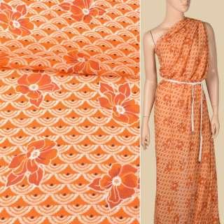 Креп-шифон вискозный оранжевый, белые веера, оранжевые цветы, ш.136 оптом