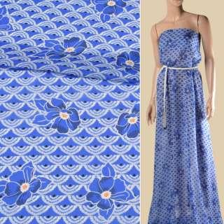 Креп-шифон віскозний синій, білі віяла, сині квіти, ш.135 оптом