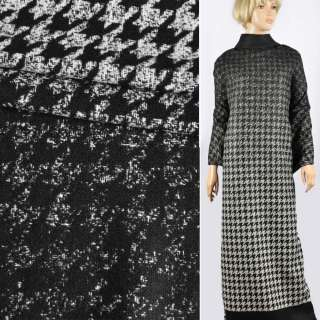 Напіввовна двошарова пальтово-костюмна Аrmani гусяча лапка рапорт чорно-молочний, ш.152 оптом