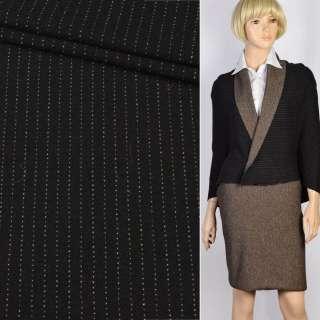 Трикотаж костюмный шерстяной двухсторонний черный в бежевую полоску, ш.130 оптом