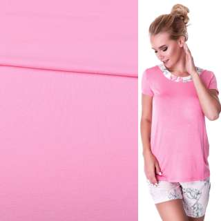 Трикотаж віскозний стрейч рожевий, ш.152 оптом