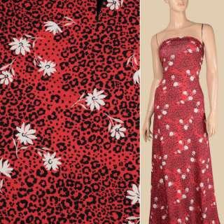 Трикотаж віскозний стрейч червоний, чорний леопардовий принт, білі квіти, ш.145 оптом