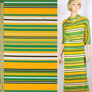 Трикотаж віскозний стрейч в смуги жовті, білі, зелені, чорні, ш.148 оптом