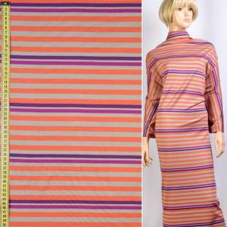 Трикотаж вискозный джерси принт в полоски бежевые, оранжевые, фиолетовые, ш.152 оптом