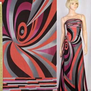 Трикотаж віскозний стрейч в сірі, червоні, чорні, фіолетові хвилі, ш.160 оптом
