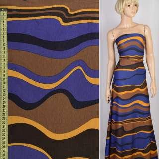 Трикотаж синий в коричневые и желтые волны, ш.157 оптом