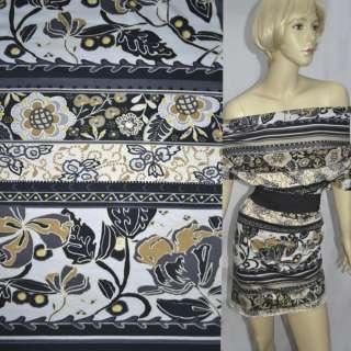 Трикотаж з бавовною стрейч в чорно-білі смужки з квітковим орнаментом (купон) ш.150 оптом