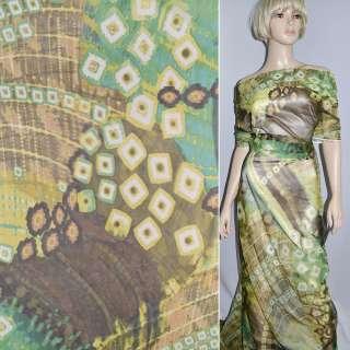 Трикотаж сетка зелено-желтая в коричневый геометрический рисунок ш.150 оптом
