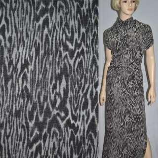 Трикотаж серо коричневый принт леопард с шерстью ш.145 оптом