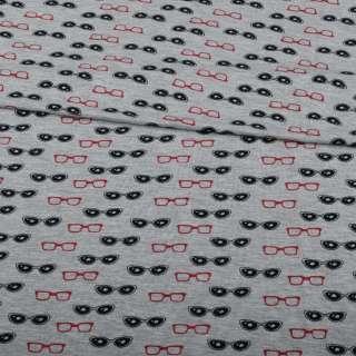 Трикотаж вискозный серый, красные, черные очки, ш.150 оптом
