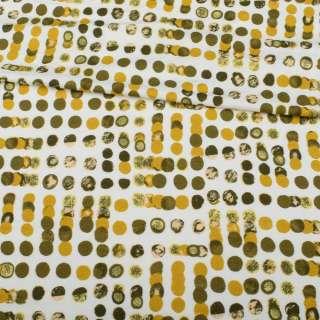 Трикотаж віскозний стрейч білий, оливковий, гірчичний горох, ш.150 оптом