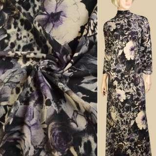 Трикотаж бежевый, черно-сиреневые цветы, бабочки, ш.150 оптом
