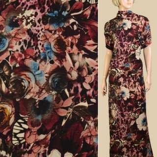 Трикотаж бежевый, черно-бордовые цветы, бабочки, ш.152 оптом