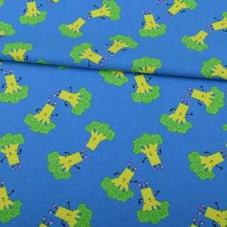 Трикотаж бавовна блакитний, зелені брокколі, ш.151 оптом