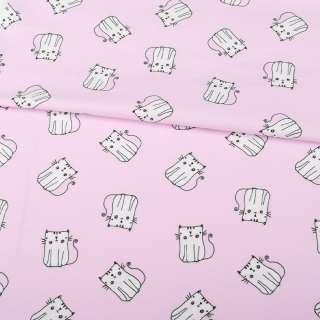 Трикотаж бавовна рожевий світлий, білі кішки, ш.152 оптом
