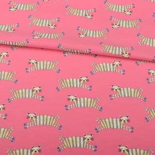 Трикотаж бавовна рожевий темний, смугасті тигри, ш.152 оптом