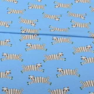 Трикотаж хлопок с эластаном голубой, полосатые тигры, ш.152 оптом