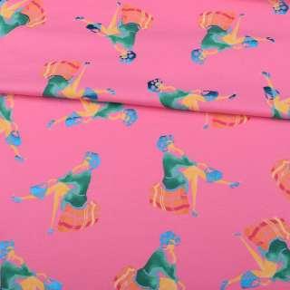 Трикотаж бавовна рожевий, дівчина в зеленій сукні з блискучою синьою сумочкою, ш.150 оптом