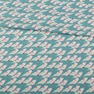 Трикотаж бавовна бирюзово-сірий, білі пташки з червоними крильцями, ш.152 оптом