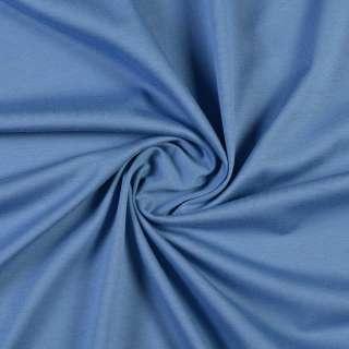 Трикотаж хлопковый голубой темный, ш.150 оптом