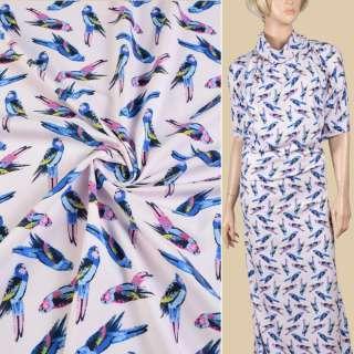 Трикотаж хлопковый розовый светлый, синие попугаи, ш.147 оптом