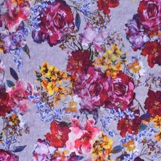 Трикотаж бавовна стрейч (махрова виворіт) з бордово-бузковим квітковим принтом ш.160 оптом