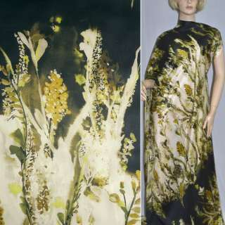 Шелк черный с желтыми цветами ш.133 оптом