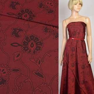 Шелк искусственный жаккардовый бордовый в черные цветы, ш.160 оптом