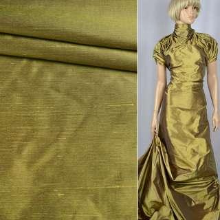 Шелк атласный плотный золотой с фиолетовой изнанкой ш.138 оптом