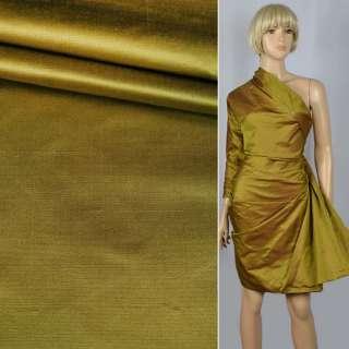 Шелк атласный плотный золотой с красным отливом ш.138 оптом