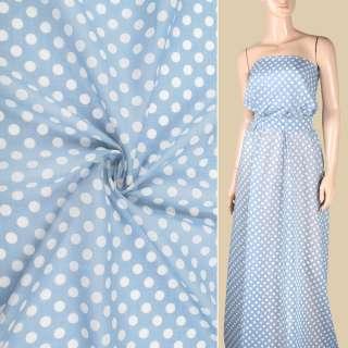 Шелк с хлопком серо-голубой в белый горох ш.150 оптом