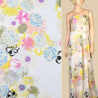 Шелк с хлопком белый, желтые, розовые, голубые цветы, ш.132 оптом