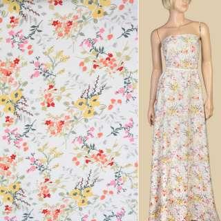 Шелк с вискозой белый в желто-розовые цветы ш.142 оптом