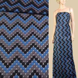 Шелк полиамид черный с вышивкой монеты синие, серые, черные и, ш.150 оптом