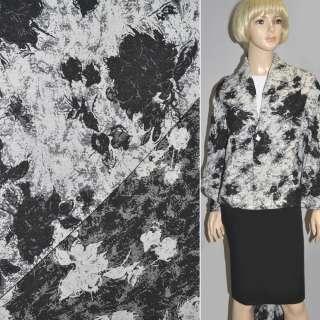 Гобелен белый с черными цветами ш.150 оптом