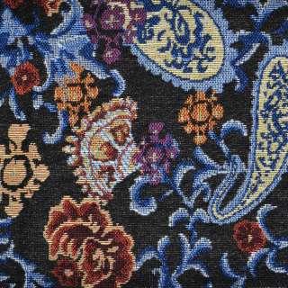 Гобелен черный с бежево-голубыми огурцами ш.150 оптом