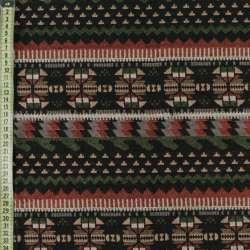 Гобелен черный в коричнево-бежево-зеленый орнамент ш.150 оптом
