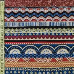 Гобелен в синие и красно-бежевые волны с орнаментом, ш.150 оптом
