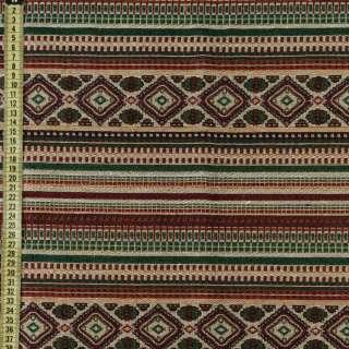 Гобелен в красно-бежевый + зеленый орнамент, ш.150 оптом