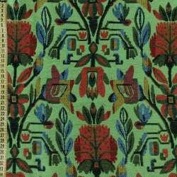 Гобелен зеленый с красно-синими цветами, ш.150 оптом