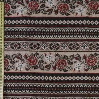 Гобелен бежевый, черно-белый орнамент, красные розы, ш.150 оптом