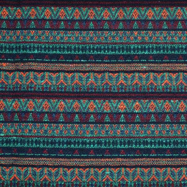 Гобелен в бордово-бирюзовые полоски с оранжевым орнаментом ш.148 оптом