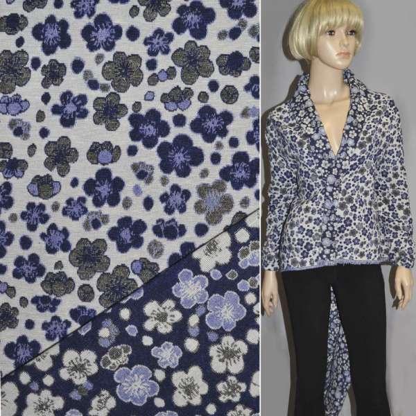 Гобелен синий с бело-голубыми цветами ш.155 оптом