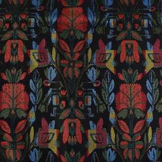 Гобелен черный в красно-желто-зелено-голубые цветы ш.152 оптом